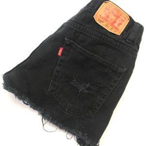 Levi's Custom Made Black Distressed Shorts